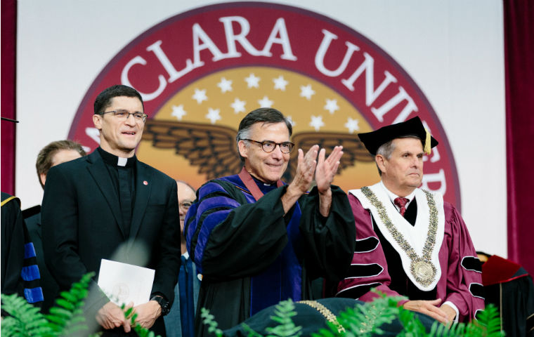 Scott Santarosa, Kevin O'Brien, John M. Sobrato on stage at inauguration in robes