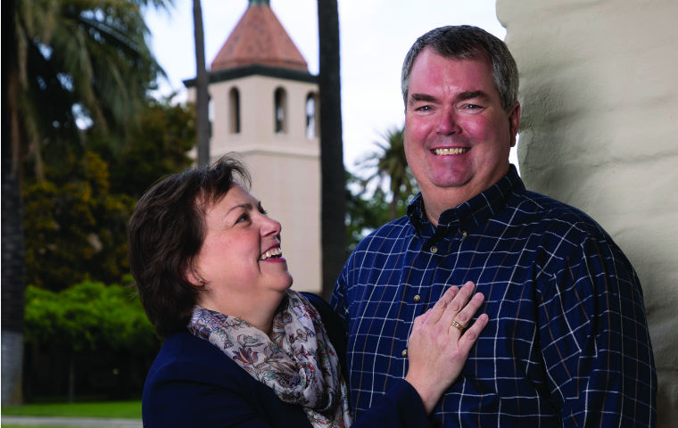 Ann '86 and Greg '86 MBA '93 Lindahl pictured at the edge of SCU's campus